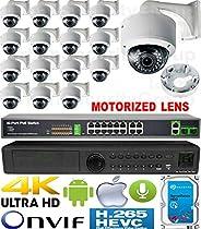 USG 4MP 16 Camera H.265 HD PoE IP CCTV Kit : 1x 24 Channel Ultra 4K NVR + 16x DOME Cameras + 1x PoE Switch + 1x 4TB HDD : 2.8-12mm Motorized Auto-Focus Lens : IR LED : FREE Phone App : 3 YEAR WARRANTY