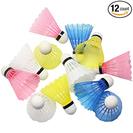 Yellow 12pcs Nylon Badminton Shuttlecocks Sports Birdies Shuttlecock for Outdoor Indoor Sports Activities