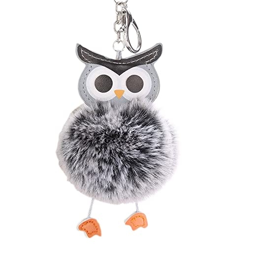 Image of: Baby Owl Image Unavailable Amazoncom Song Qing Cute Owl Shape Ball Keychain Keyring Bag Charm Car