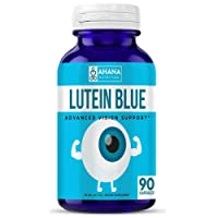 Lutein Blue Supplement by Ahana Nutrition - Lutein 40mg Capsules with Bilberry and Eyebright to Support Eyes and Visual Function - Easy to Swallow Capsules (90 Capsules)
