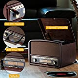 RCM Retro Lp Wooden 6-in-1 Music Centre with 3 Speed Turntable, FM Radio, Cd Player, Wireless Connection with Your Portable Device, USB Playback/Recording, Built-in 10 Watts RMS Powerful Speakers