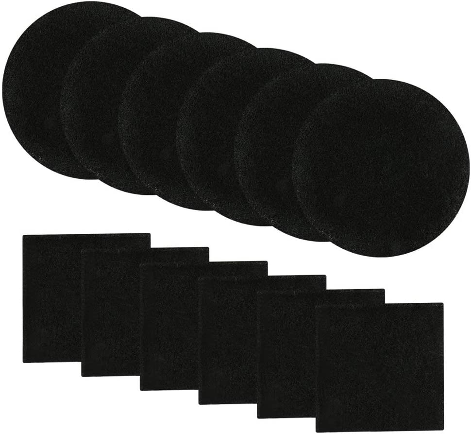 Abakoo Compost Bin Filters, 12 Pack, Activated Carbon Filters for Kitchen Compost Pail Filters Replacement for 1/1.3 gallon compost bin, 6 Round and 6 Square 6.5 inch Diameter Measures 4.65 inch