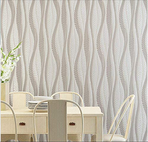Wallpaper Modern Stripe (Blooming Wall Extra-thick Modern Non-woven Leaf Flows Pattern Wallpaper Wall Paper Roll for Livingroom Bedroom, 39063)