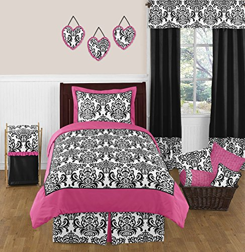 Sweet Jojo Designs 3-Piece Hot Pink, Black and White Isabella Children