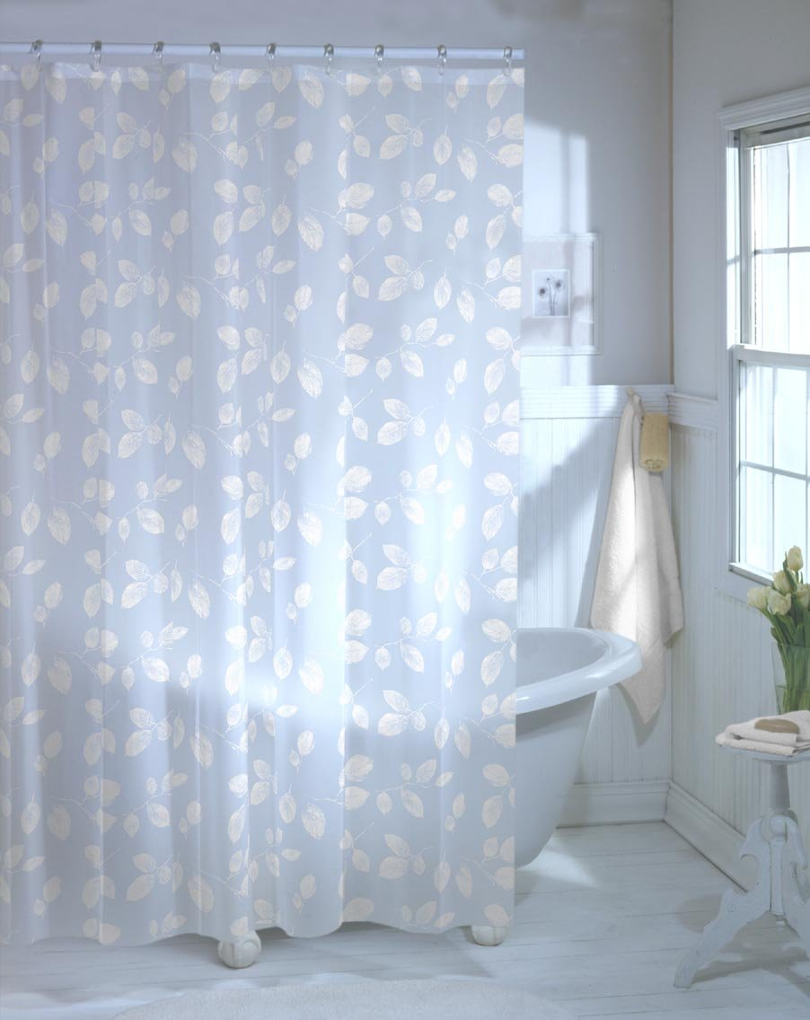 Amazon.com: Maytex Just Leaves PEVA Vinyl Shower Curtain, White ...