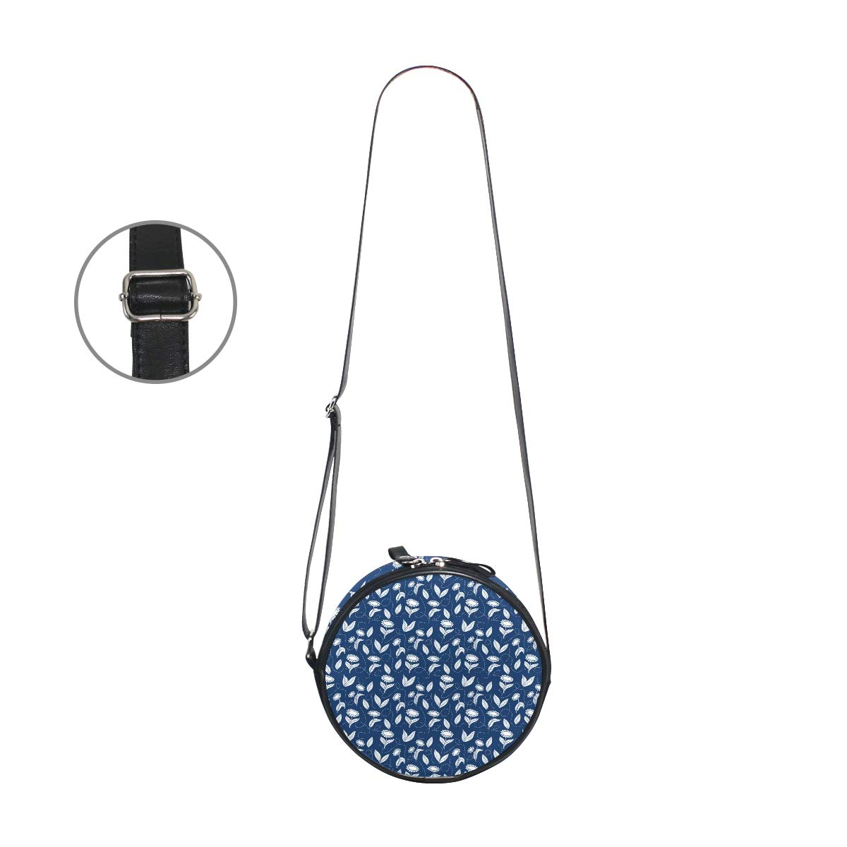 Crossbody Bag Traditional Blue Sunflowers Womens Casual Phone Pouch Round Shoulder Bag