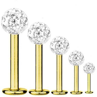 f6d5f913e Labret Bar Tragus Piercing Gold Plated Titanium 1,2 mm, Multi Crystal Ball  White