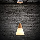 Litfad LED Ceiling Pendant Light-Frosted Glass,Cone Shaded Designed,Wood Material C type