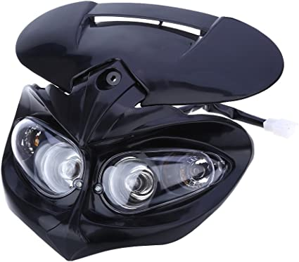 DC 12V 18W Motorcycle Dual Headlight Fairing Head Lamp High Low Beam for