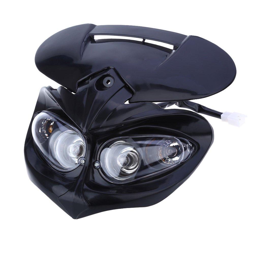 Motorcycle Motorbike Headlight Racing Street Fighter Black Headlight Fairing Light Lamp 18W High Low BISOZER-Outdoor tool