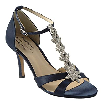 21371dfb7f99 Chic Feet Navy Blue Satin Wedding Bridal Evening Prom Diamante Sandals - UK  Size 3