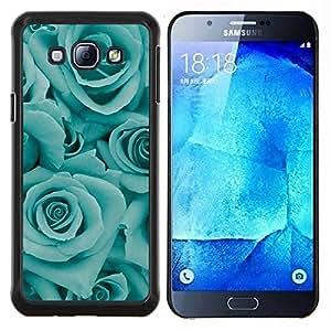 Blue Roses Flores floral Pétalo trullo- Metal de aluminio y de plástico duro Caja del teléfono - Negro - Samsung Galaxy A8 / SM-A800
