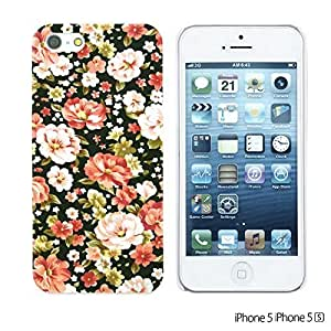 OnlineBestDigitalTM - Flower Pattern Hardback Case for Apple iPhone 5S / Apple iPhone 5 - Pink and White Roses