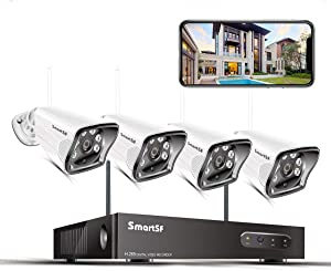 SmartSF 8CH 1080P NVR Wireless Surveillance Camera Security System,4Pcs 720P Outdoor Home IP Cameras,Motion Detection,P2P,65ft Night Vision,No Hard Drive
