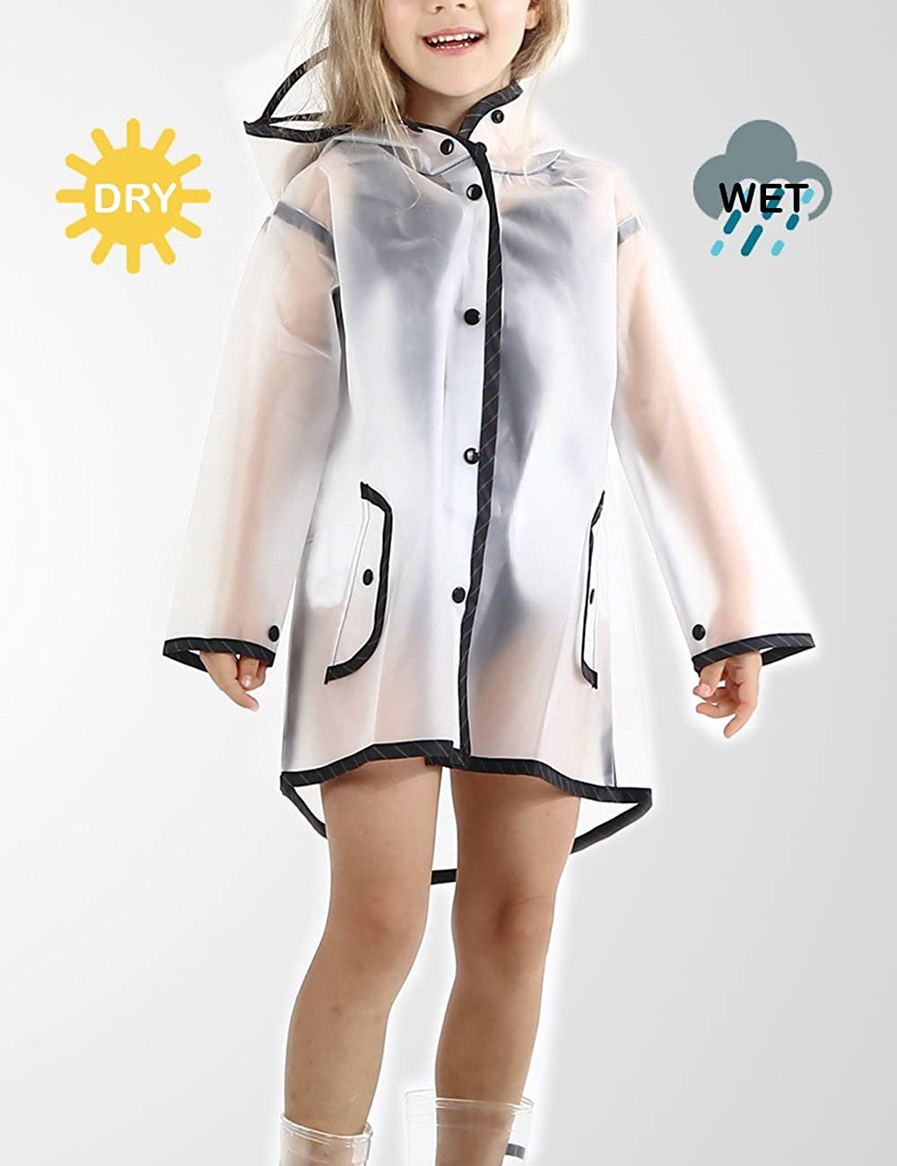 ITSMN Kids Girl Waterproof Hooded Rain Jacket Raincoat Lightweight Poncho Outdoor EVA Black