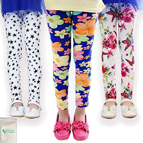 Gellwhu 3-Pack Girl Pants Printing Flower Toddler Kids Classic Leggings 2-13Y