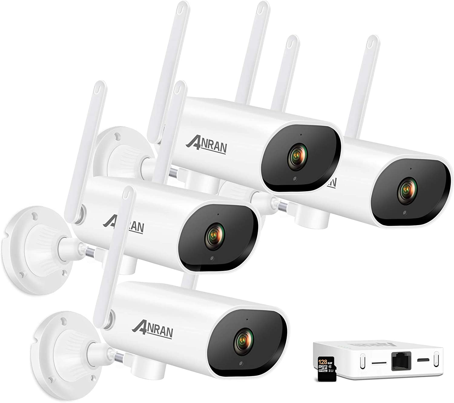 ANRAN 3MP Wireless Camera System, 4 Channel Mini NVR WiFi Outdoor Security Camera with One-Way Audio, Night Vision, Motion Alert, Remote View, Surveillance Cameras for Home Security, 128G SD Card