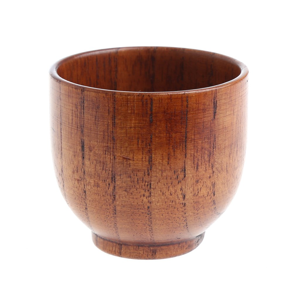 Wivily Handmade Wooden Cup Hand-Crafted Natural Wood Cups Mug Beer Juice Coffee Mugs