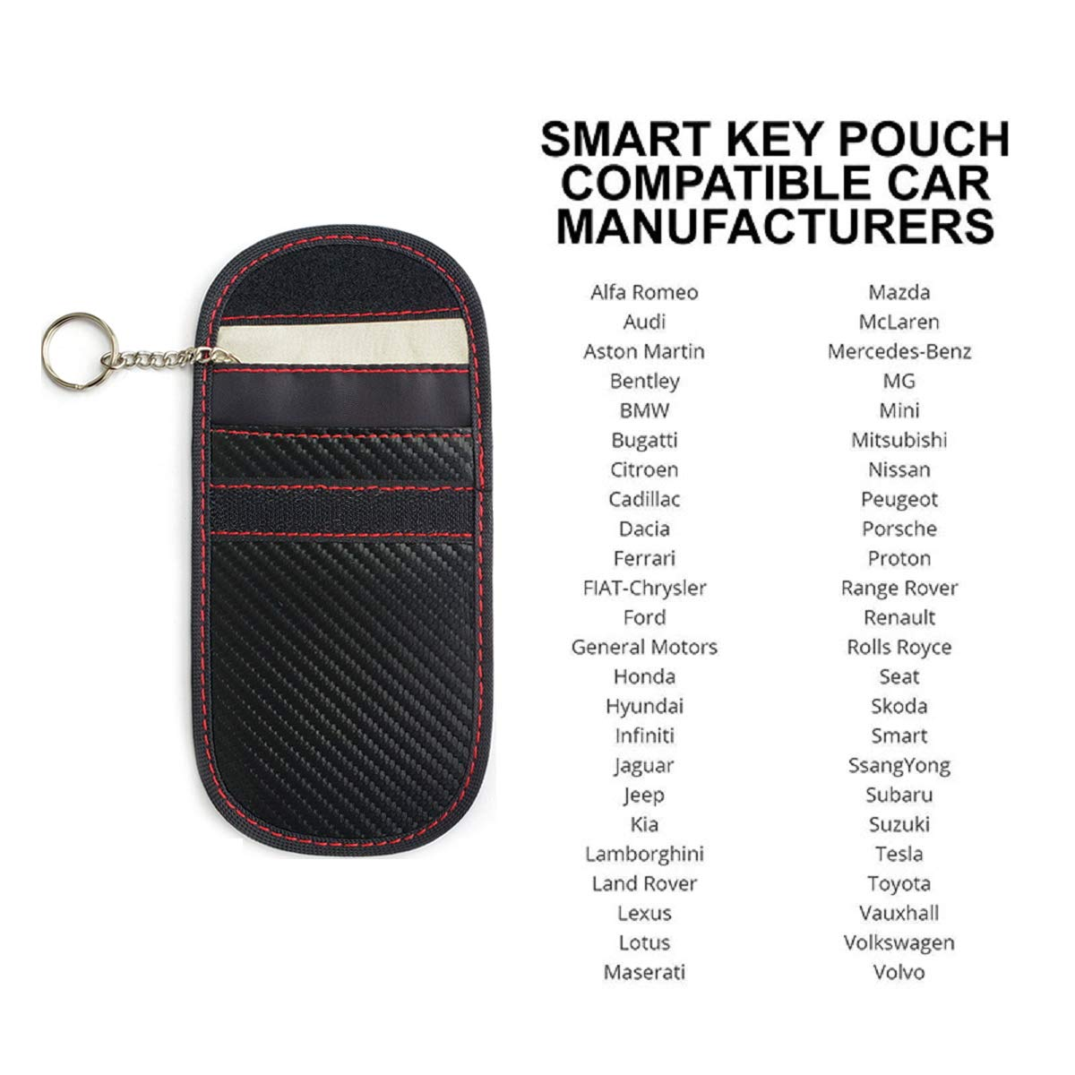 inches 3.9 x 5.9 2 Pack Healthy Cell Phone Privacy Protection Security WiFi//GSM//LTE//NFC//RF Blocker Faraday Key fob Bags,Car Keyless Entry Signal Blocker Anti Theft Lock Devices Black