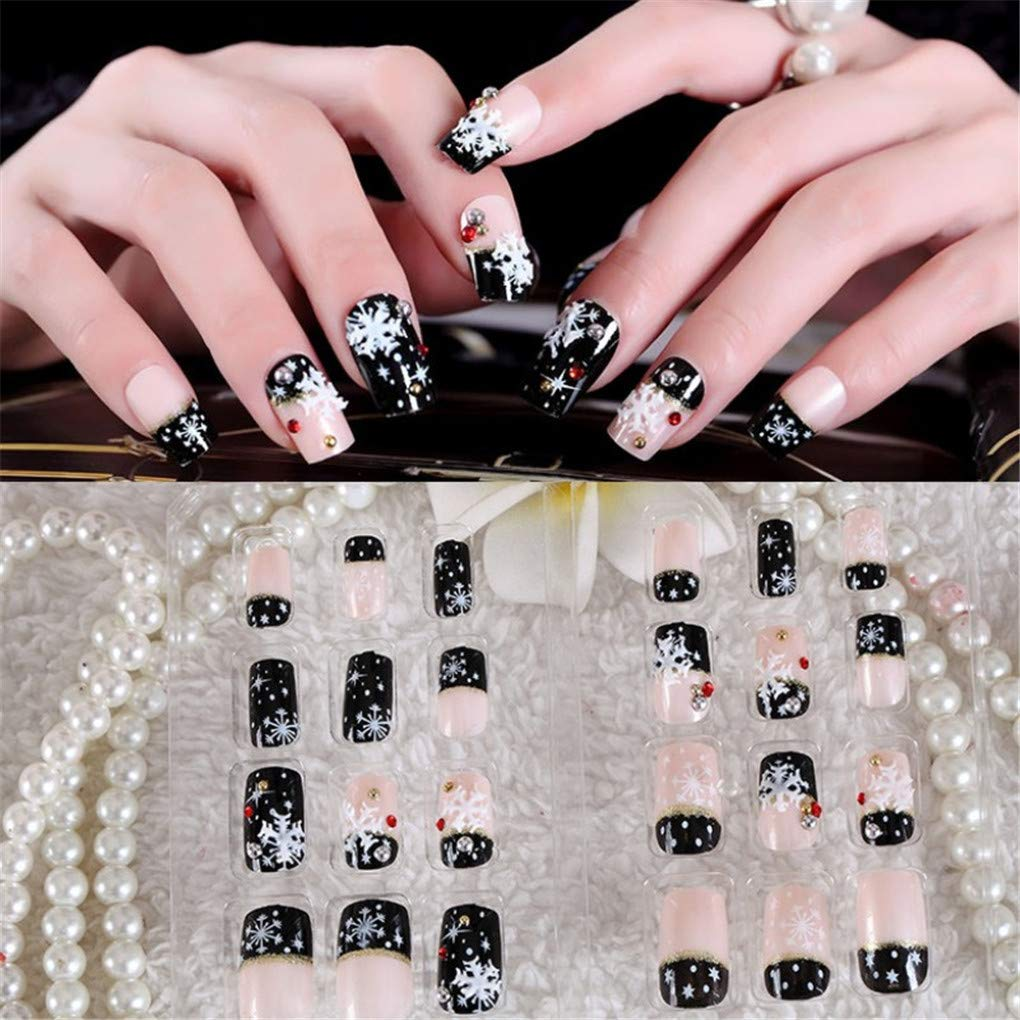 Amazon.com: 24 uñas postizas de Navidad, color negro, blanco ...