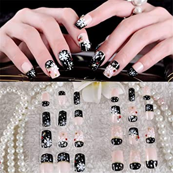 Amazon.com  24Pc Christmas False Nails Black White Red