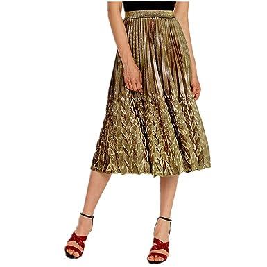 ZAMAC Falda Mujer Falda de Cola de Pescado Elástica Plisada Básica ...