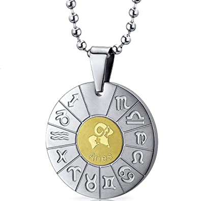Aries Ram Sign Zodiac Symbol Stainless Steel Circle Pendant Necklace