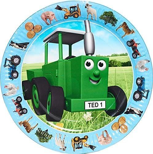 Pack of 8 Kids Party Tractor Ted Party Plate Set Celebration   Birthday Decoration