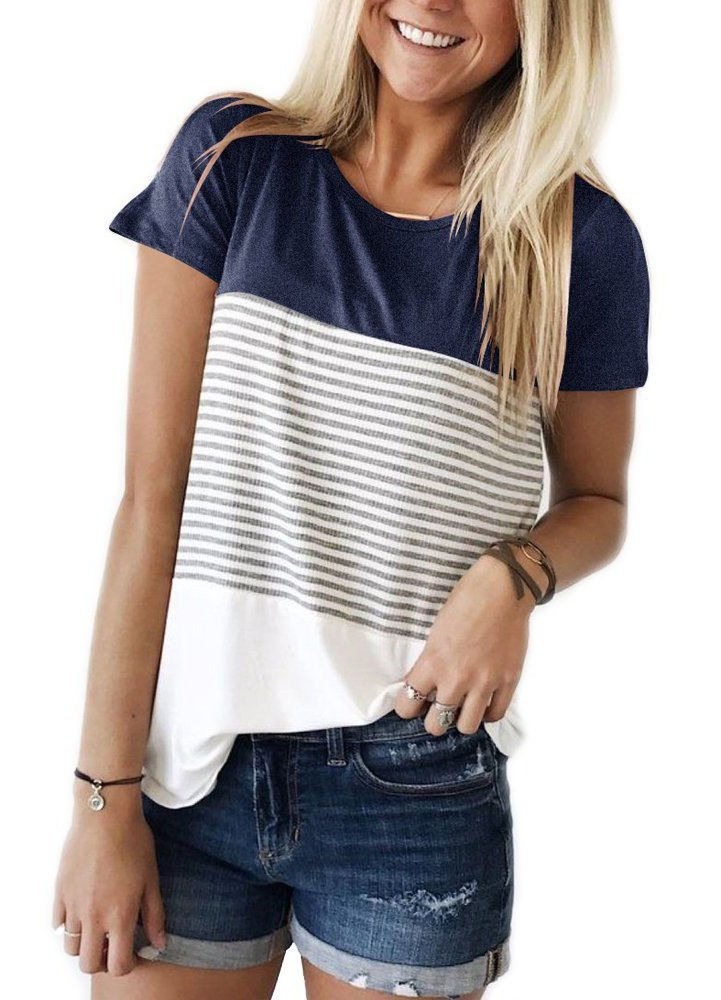 MOLERANI Women Stripe Color Block Knits T Shirts Short Sleeve Casual Cotton Tunic Tops(L, Navy Blue) by MOLERANI (Image #1)