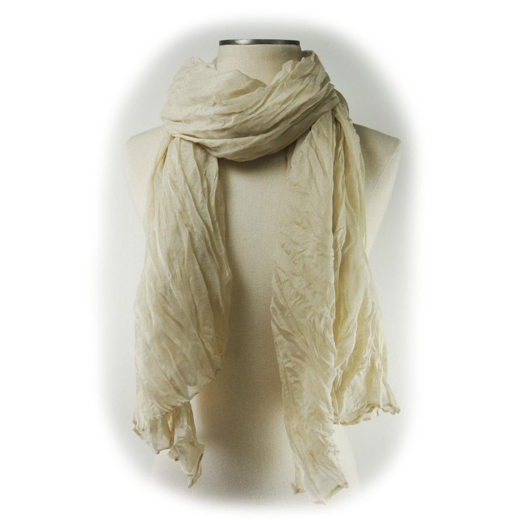 Candy Scarf Long Crinkle Wrap Shawl Stole Style Fashion Women Girl 20 Colors-Ivory