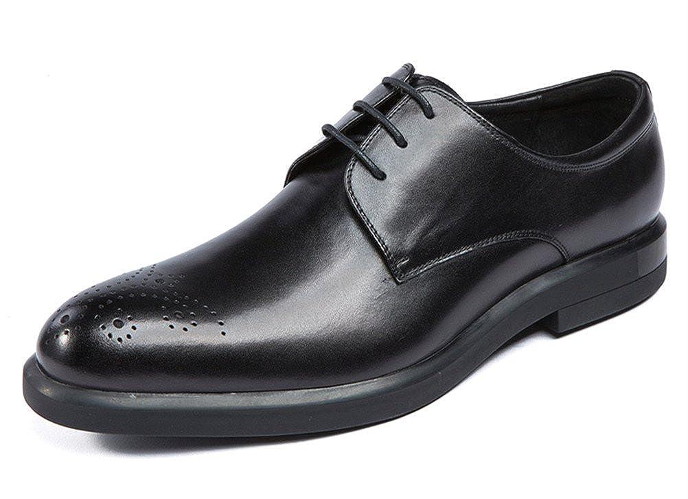 WOUFO 商標登録079889 メンズ靴 レザー ビジネスシューズ 紐 ビンテージ メダリオン トラッドシューズ 本革 ラウンドトゥ プレーントウ 結婚式 レースアップ ドレスシューズ 革靴 紳士靴 オフィスシューズ (全2色)8848-02 B075HD3CNR  ブラック 26.5(43)