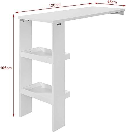 SoBuy FWT55-W Mesa de Pared,Mesa de Bar con 2 estantes pequeños,Tamaño:120 x 106 x 45 cm,ES