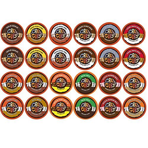 (Crazy Cups Coffee, Chocolate Coffee & Flavored Coffee Variety Sampler Pack, Recyclable Coffee Pods for Keurig K Cup Machines, 48 count)