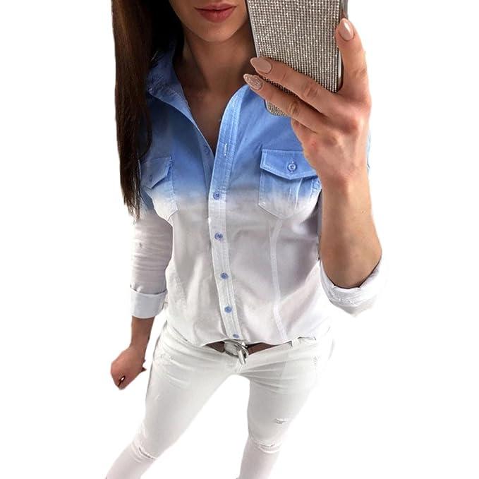 Blusas De Mujer Elegante Primavera Otoño Gradient Manga Modernas Casual Larga De Solapa Camisa Moda Casual
