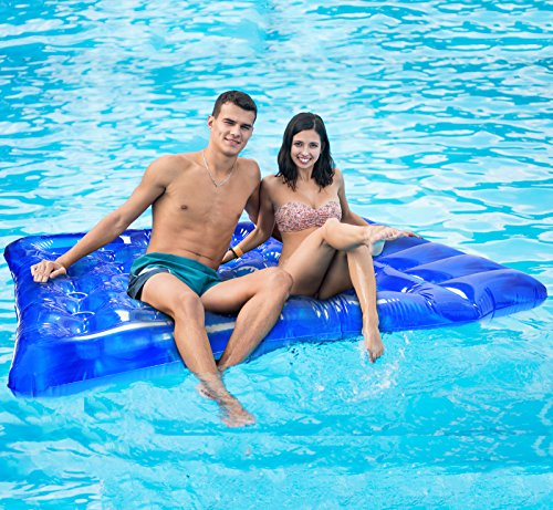 Greenco Giant Inflatable Double Mattress Pool Lounger Float 78 Inches- Blue (Lounger Pool Double)