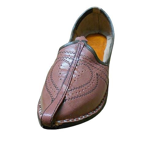 Kalra Creaciones Hombres de Piel de Tradicional Indio para Hombre Zapatos, Color Rojo, Talla 40.5 EU M: Amazon.es: Zapatos y complementos
