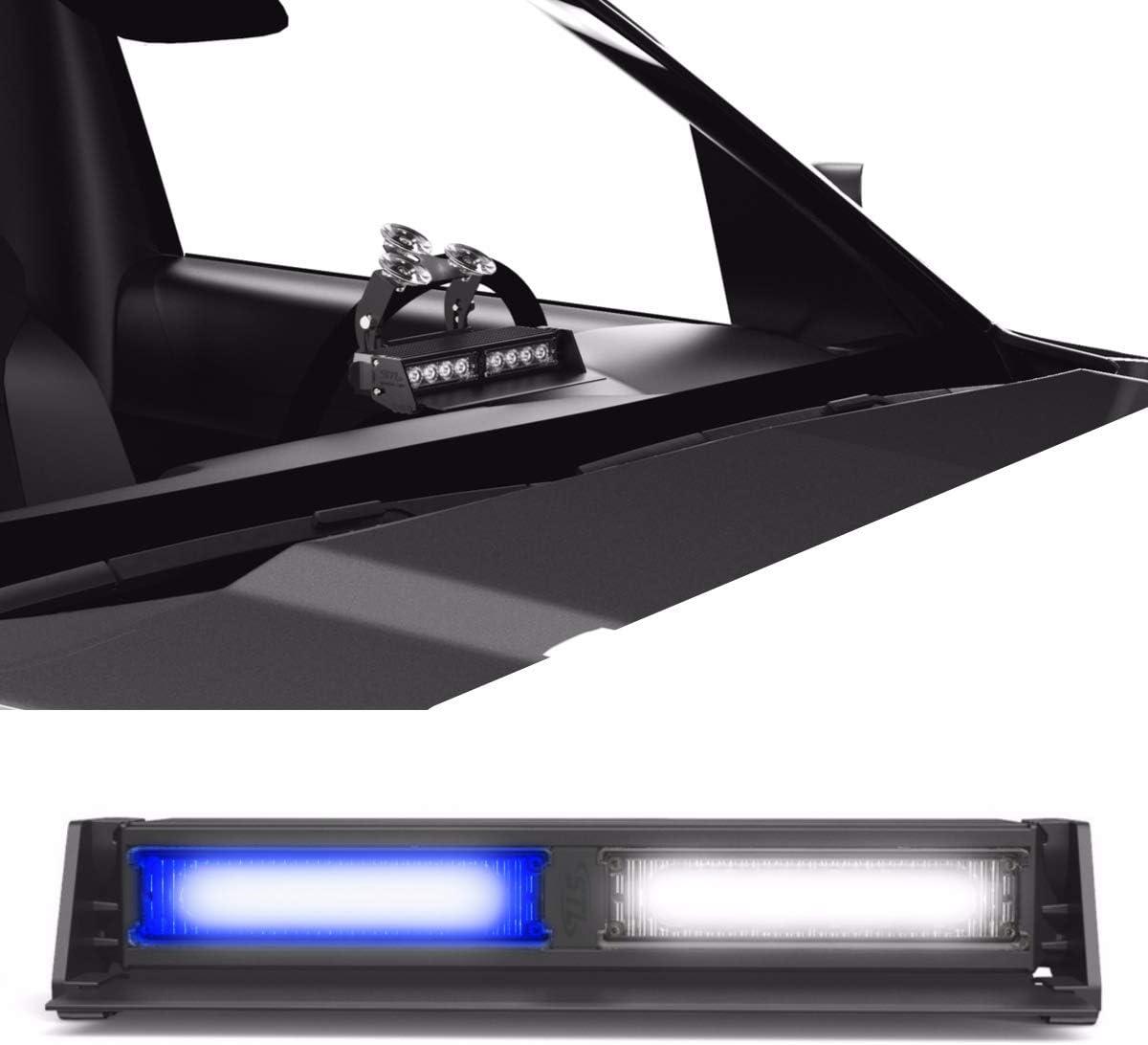 SpeedTech Lights Striker TIR 2 Head LED Strobe Deck Dash Windshield Mount Light Bar for Police, Security, and Emergency Vehicles Hazard Flashing Warning Lights with Cigarette Lighter Plug Blue/Clear
