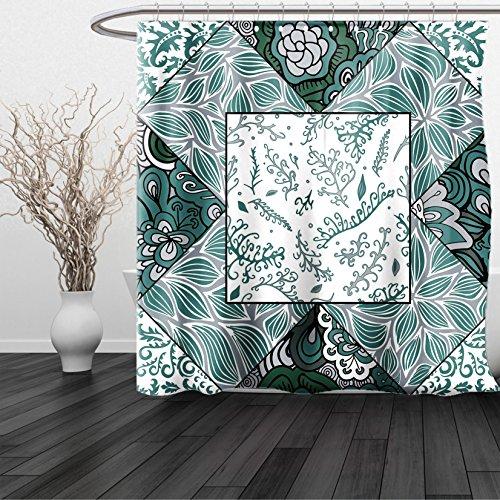 HAIXIA Shower Curtain Boho Shabby Chic Leaves in Mix Chevron Swirled Nature Branches Flower Print Jade Green Grey White - Boston Red Sox Nutcracker