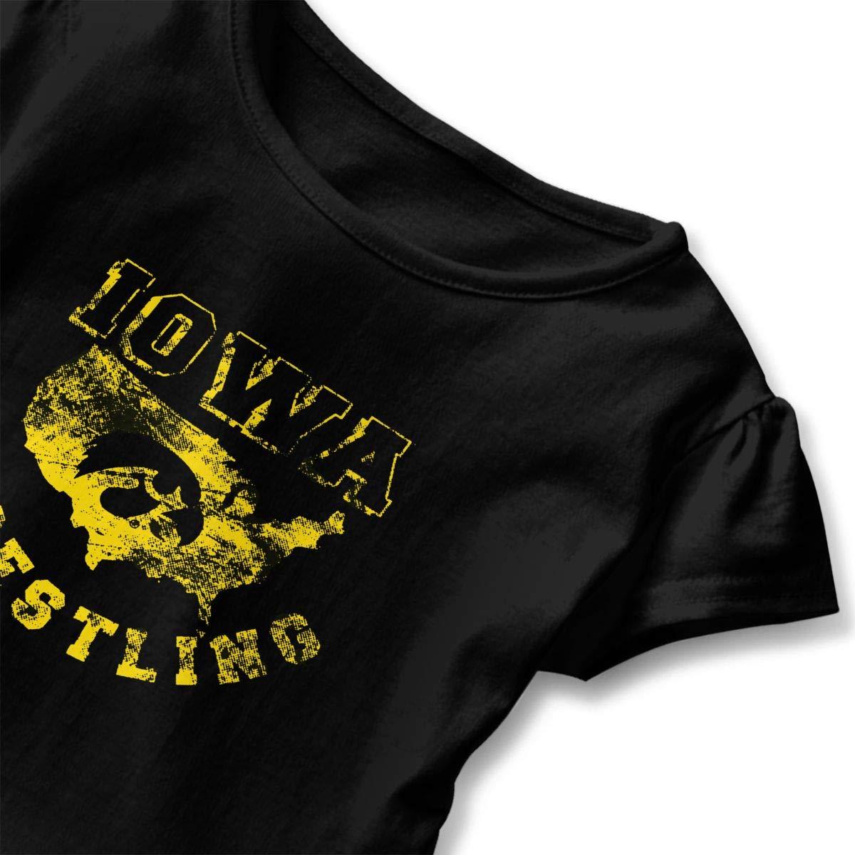 ZP-CCYF Iowa USA Wrestling Toddler Baby Girl Ruffle Short Sleeve T-Shirt Cute Cotton T Shirts