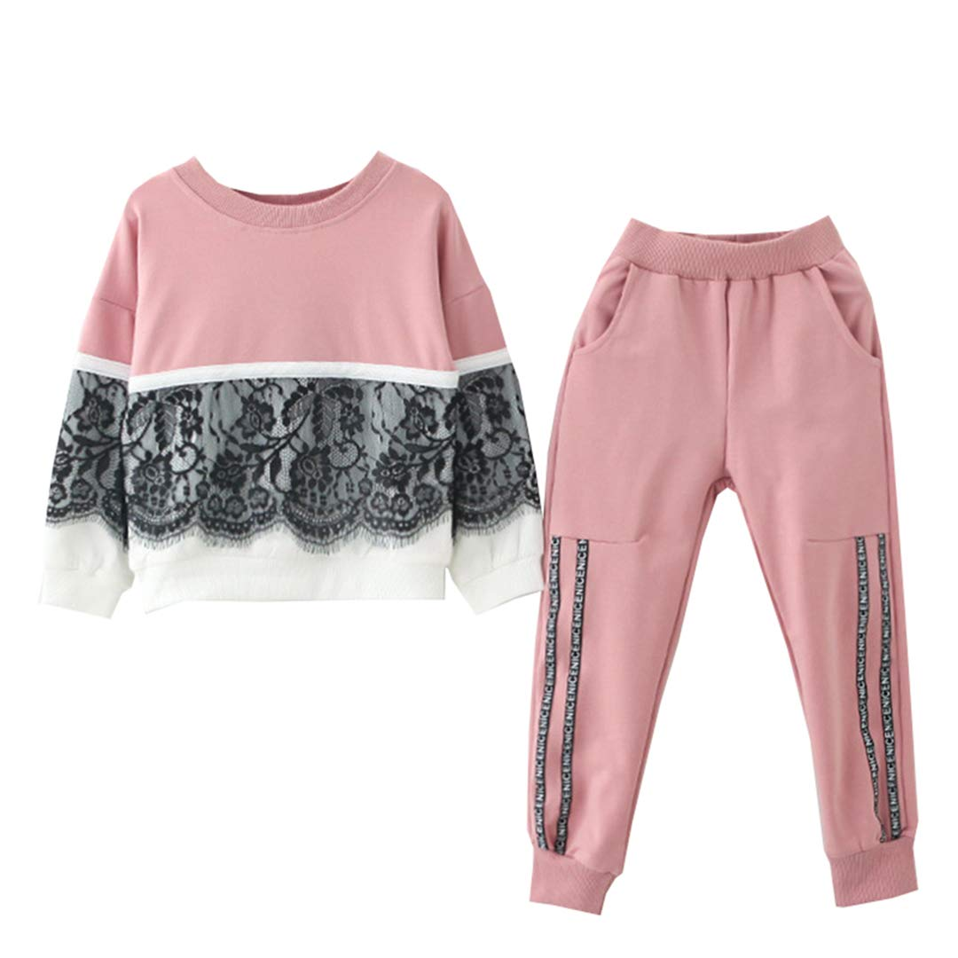 AIKSSOO 2Pcs Little Girls Jog Set Lace Stitching Casual Sweatshirt+Jogger Pants