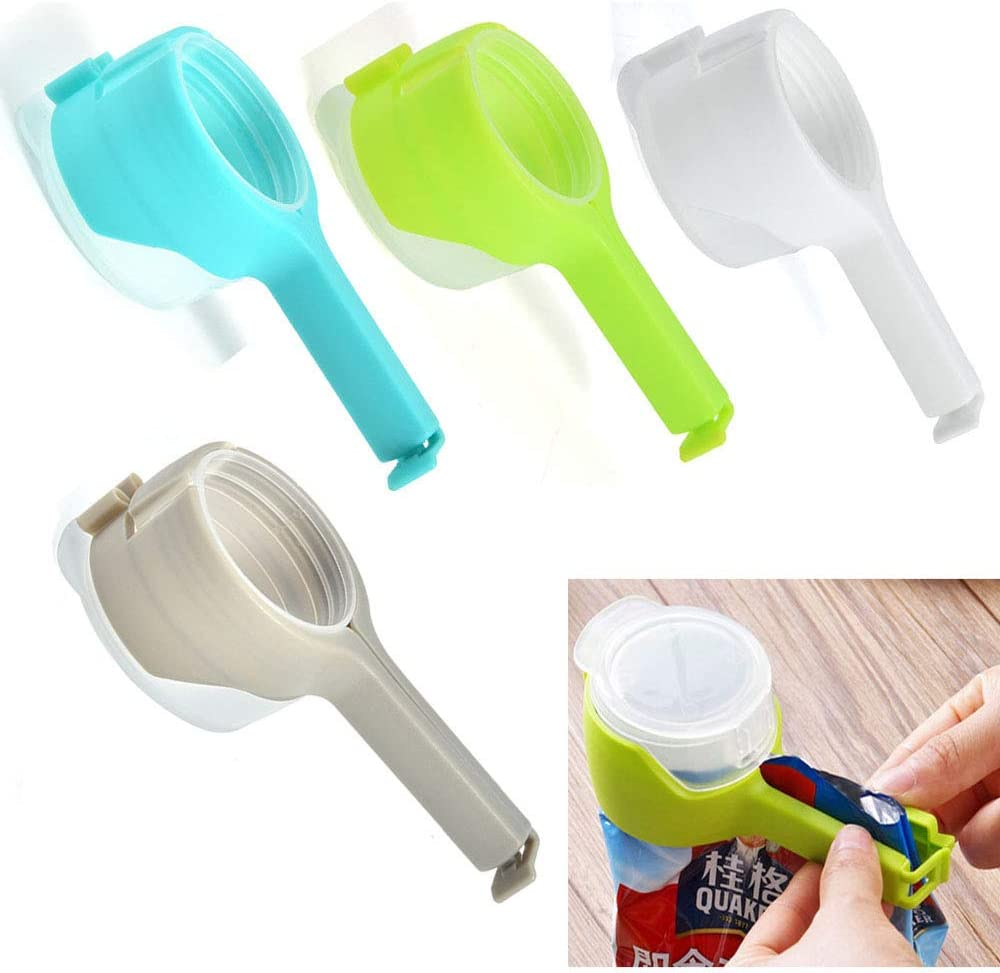 4PCS Bag Clips for Food, Seal Pour Food Storage Bag Clip, with Large Discharge Nozzle Moisture Proof Plastic Cap Sealer Clips for Kitchen Food Storage and Organization Kitchen Tools Food Closed