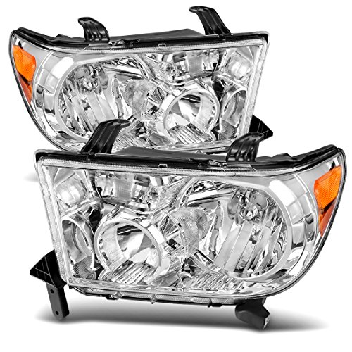 For Toyota Tundra 2007-2011 Headlamp Headlight Assembly Chrome Housing Amber Reflector Clear Lens (Driver and Passenger Side)