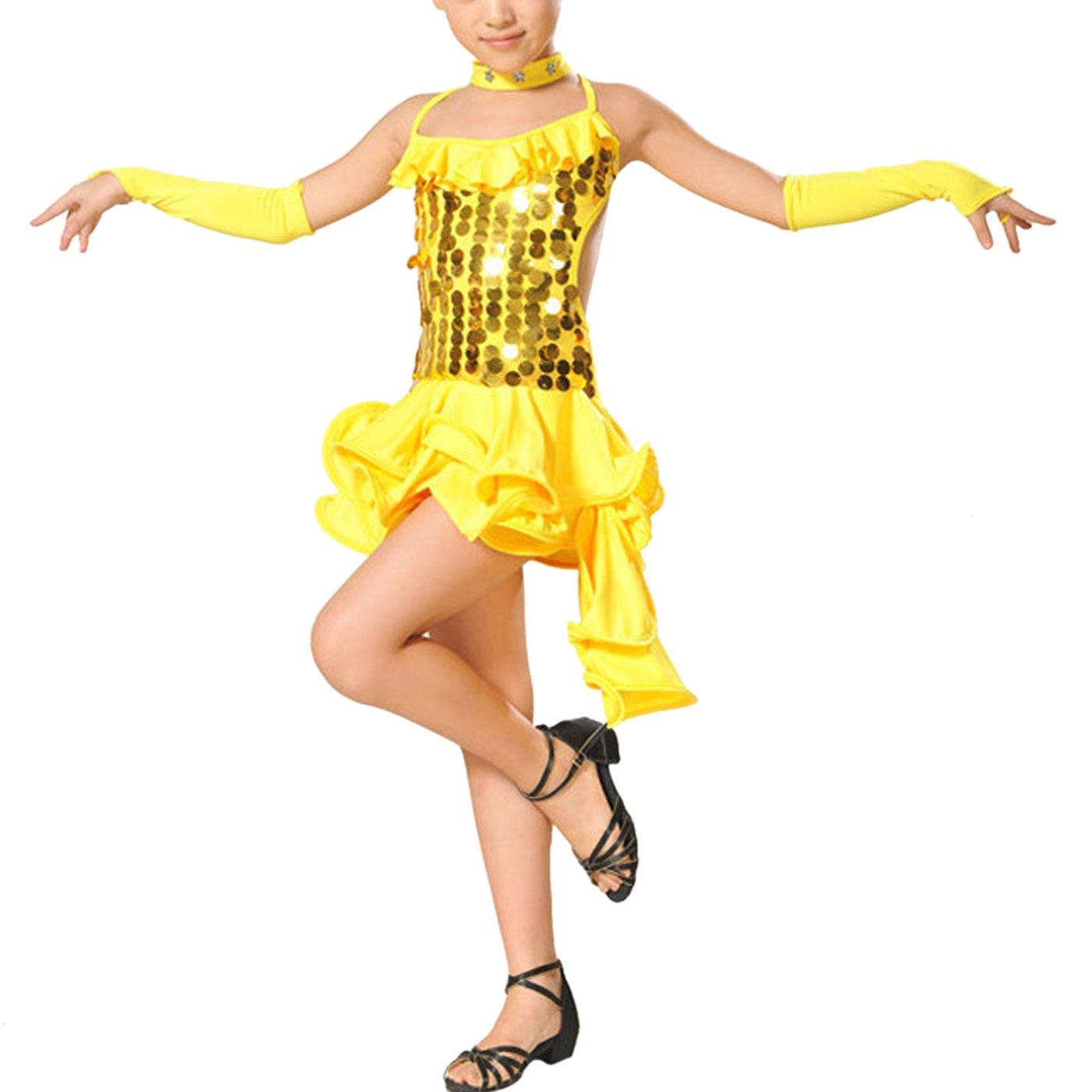6449ad1edf649 Feoya - Robe Costume Latino Fille Robe Danseuse Salsa Leotard Robe ...