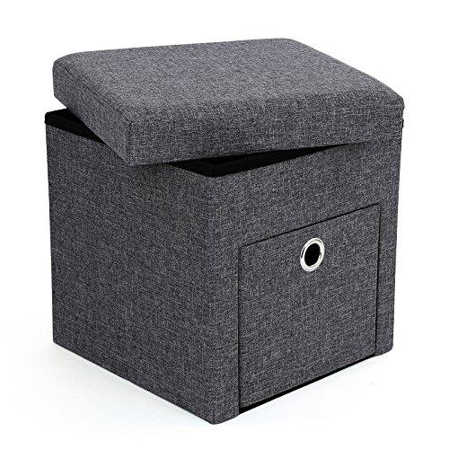 Songmics faltbarer Sitzhocker Sitzwürfel mit Stauraum dunkelgrau 38 x 38 x 38 cm LSF61K