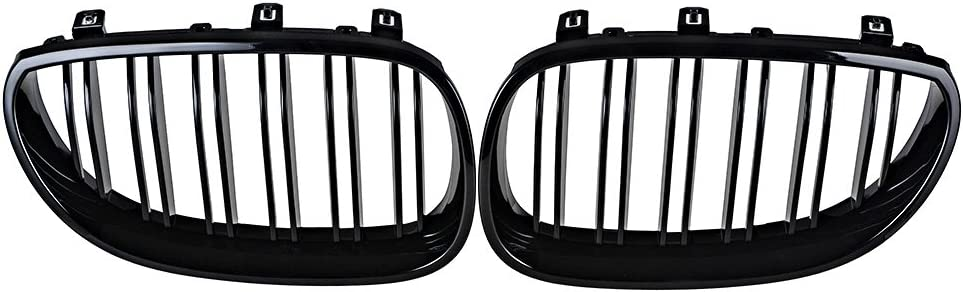 Glossy Black AMOPA Left and Right Kidney Grille Compatible with 2003-2010 E60 E61 5-Series