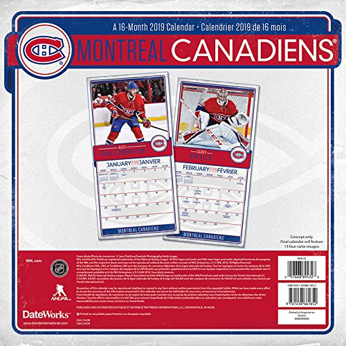 2019 Montreal Canadiens Wall Calendar (English and French Edition) by Trends International Calendars