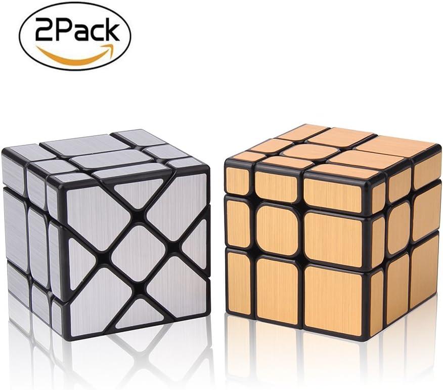 ROXENDA Set Pack de 2 Espejo Dorado S Plata Espejo de Viento ...