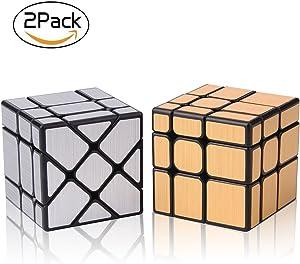 Roxenda Speed Cube Set , Magic Cube Bundle of Gold Mirror S Cube and Silver Windmirror Cube , Irregular Speedcubing 3x3x3 SpeedCube Twisty Box Puzzle