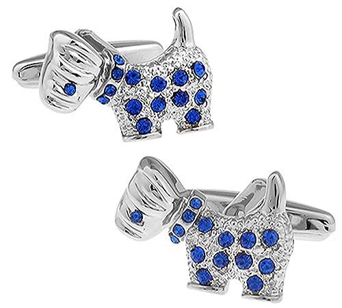 Scottie Perro Gemelos con cristales azules con mancuernas de la marca de la caja de la mancuerna: Amazon.es: Joyería