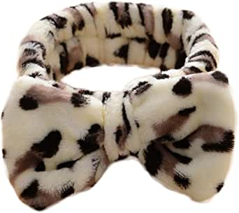 Bullidea Headband Make-up Wash Face Removal Bouillante Elastic Hair Band Spa Bath Cute Bow-knot Pattern Hair Wrap Coffee Leopard